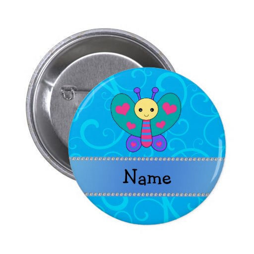 Personalized name butterfly blue swirls pins
