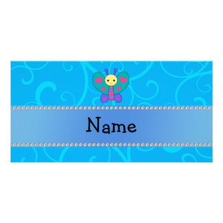 Personalized name butterfly blue swirls photo card
