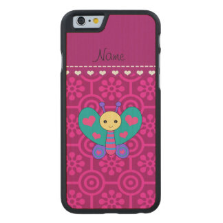 Personalized name butterfly magenta retro flower carved® maple iPhone 6 case
