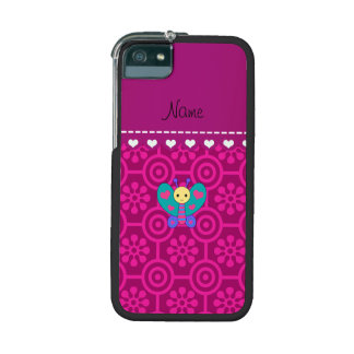 Personalized name butterfly magenta retro flower iPhone 5/5S cover