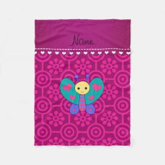 Personalized name butterfly magenta retro flower fleece blanket