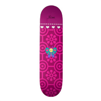 Personalized name butterfly magenta retro flower skate deck