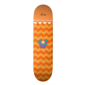 Personalized name butterfly orange chevrons skateboard deck
