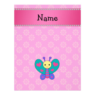 Personalized name butterfly pink flowers flyer design