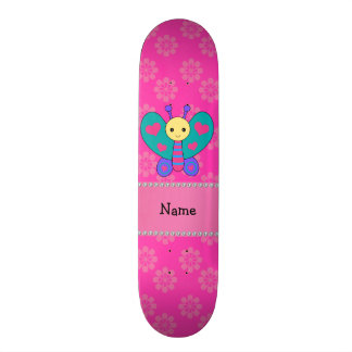 Personalized name butterfly pink flowers skateboard deck