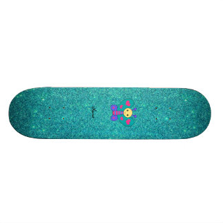 Personalized name butterfly turquoise glitter skateboard deck