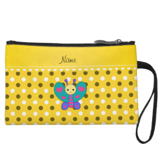 Personalized name butterfly yellow polka dots wristlet