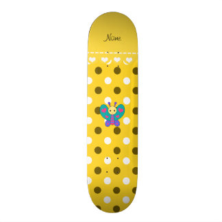 Personalized name butterfly yellow polka dots custom skateboard