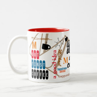 personalized name caffeine collage red color Two-Tone coffee mug