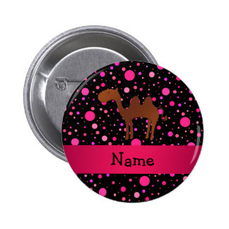 Personalized name camel black pink polka dots button