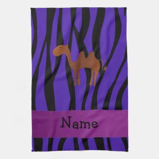 Personalized name camel purple zebra stripes towels