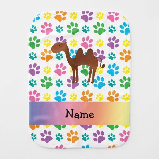 Personalized name camel rainbow paws baby burp cloth   Zazzle