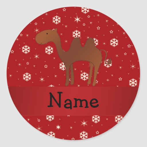 Personalized name camel red snowflakes round sticker