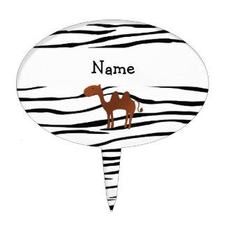 Personalized name camel zebra stripes cake topper