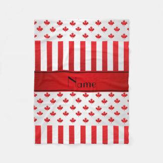 Personalized name Canadian pattern Fleece Blanket