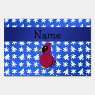 Personalized name cardinal blue snowflakes trees lawn signs