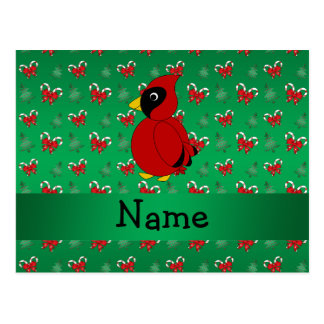 Personalized name cardinal green candy canes bows postcard