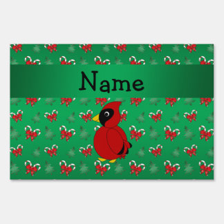 Personalized name cardinal green candy canes bows lawn sign