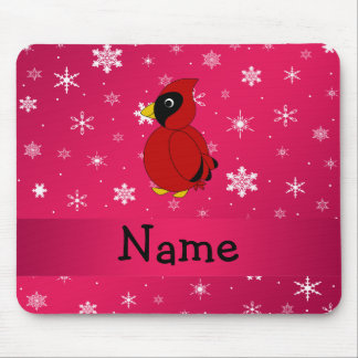 Personalized name cardinal pink snowflakes mouse pad