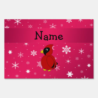 Personalized name cardinal pink snowflakes signs