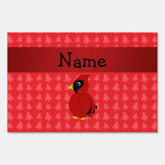 Personalized name cardinal red christmas trees lawn signs