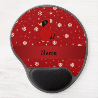 Personalized name cardinal red snowflakes gel mouse pad