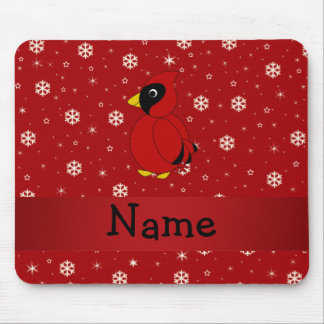 Personalized name cardinal red snowflakes mouse pad