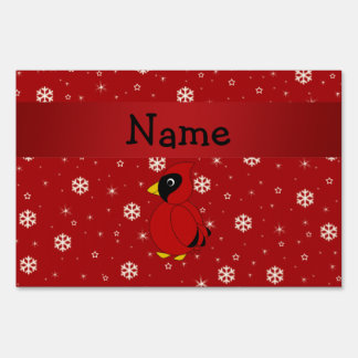 Personalized name cardinal red snowflakes signs