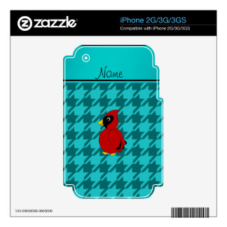 Personalized name cardinal turquoise houndstooth decal for the iPhone 3
