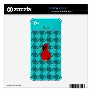 Personalized name cardinal turquoise houndstooth skins for iPhone 4