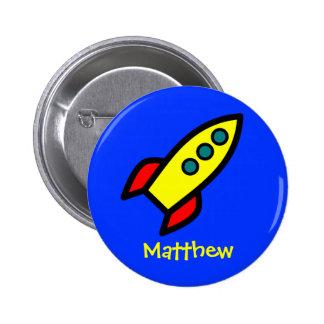 Personalized Name - Cartoon Rocket Ship Pin