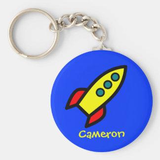 Personalized Name - Cartoon Rocket Ship Keychain