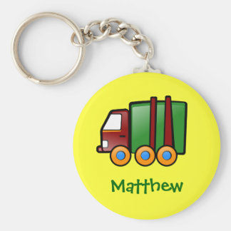 Personalized Name Cartoon Truck Basic Round Button Keychain
