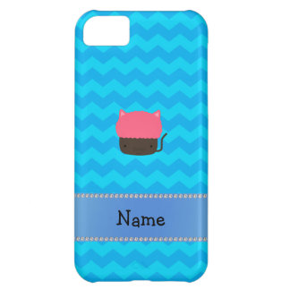 Personalized name cat cupcake blue chevrons cover for iPhone 5C
