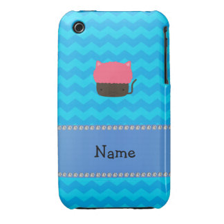 Personalized name cat cupcake blue chevrons iPhone 3 cover