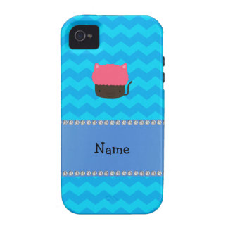 Personalized name cat cupcake blue chevrons vibe iPhone 4 case