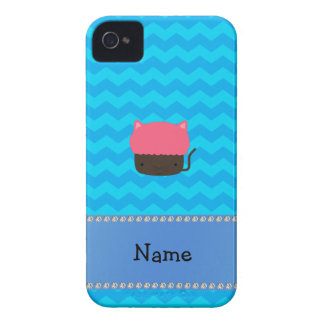 Personalized name cat cupcake blue chevrons iPhone 4 Case-Mate cases