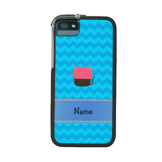 Personalized name cat cupcake blue chevrons iPhone 5 case