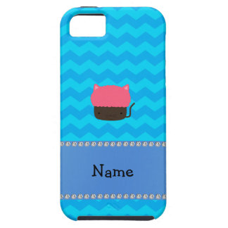 Personalized name cat cupcake blue chevrons iPhone 5 cases