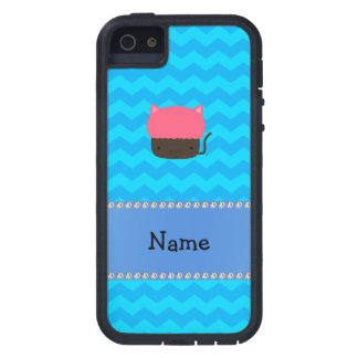 Personalized name cat cupcake blue chevrons case for iPhone 5