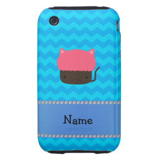 Personalized name cat cupcake blue chevrons tough iPhone 3 cases
