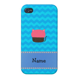 Personalized name cat cupcake blue chevrons iPhone 4 cases