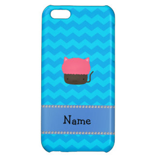 Personalized name cat cupcake blue chevrons iPhone 5C cases