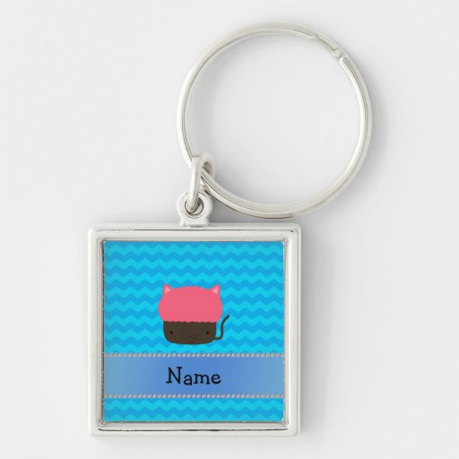 Personalized name cat cupcake blue chevrons keychain
