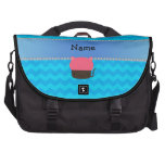 Personalized name cat cupcake blue chevrons laptop bags