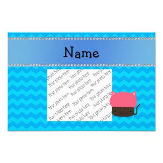 Personalized name cat cupcake blue chevrons photo print