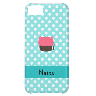 Personalized name cat cupcake light blue polka dot iPhone 5C cases
