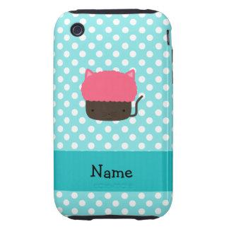 Personalized name cat cupcake light blue polka dot tough iPhone 3 case