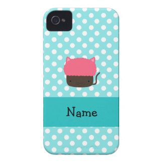 Personalized name cat cupcake light blue polka dot iPhone 4 case