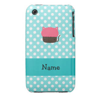 Personalized name cat cupcake light blue polka dot Case-Mate iPhone 3 case